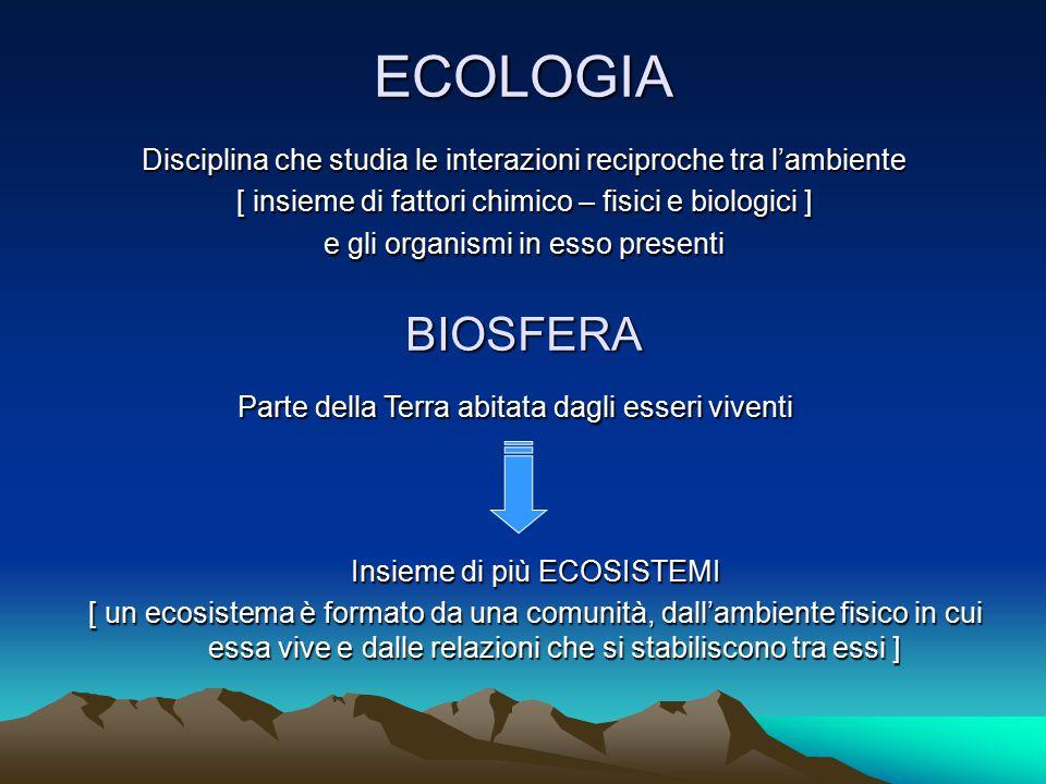 ECOLOGIA Disciplina che studia le interazioni reciproche tra l'ambiente. [ insieme di fattori chimico – fisici e biologici ]